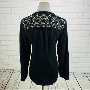 Westbound Black Long Sleeve Lace Back Tee - Large